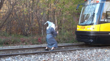 guy dressed as gandalf stops a train